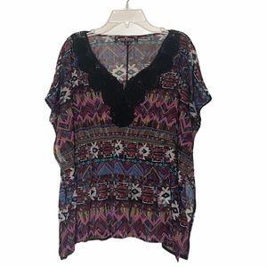 Almost Famous batwing sleeve lace top black small